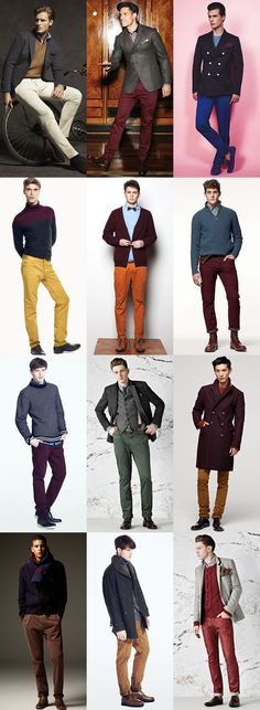 Burgundy chinos are being paired with other wardrobe to complete the ensemble.