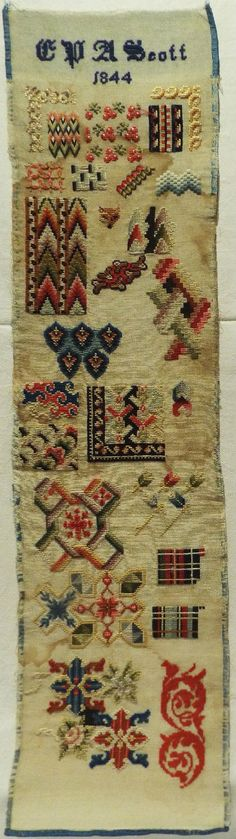 EARLY 19TH CENTURY DARNING BAND SAMPLER BY C.P.A SCOTT - 1844 in Antiques, Linens & Textiles (Pre-1930), Samplers | eBay