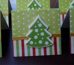 Christmas Trees and Polka Dots Mini Cards or Gift Tags 2x2 (6) by PeculiarParchment on Etsy