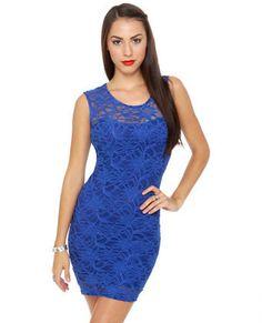 Sexy Blue Dress - Royal Blue Dress - Lace Dress - $40.00