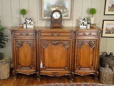 Antique French Country Buffet Louis XV Cabinet Sideboard Server Carving