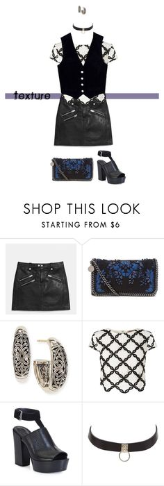 """2016: Texture"" by rockerchick21 ❤ liked on Polyvore featuring Coach, STELLA McCARTNEY, Konstantino, Lipsy, Rebecca Minkoff, Charlotte Russe, AG Adriano Goldschmied, leatherskirts, hoopearrings and chokers"