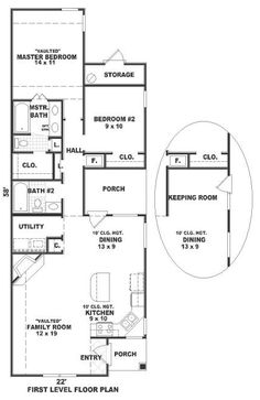 First Floor Plan of Ranch   House Plan 46340