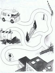 ziekenhuiswagen welke weg ... ? (spreek en schrijfoefening)