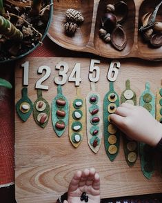 "This past week I created some hand-sewn wool felt ""seed pod counters"" for Rowan to use during his preschool math time today. Montessori Toddler, Montessori Activities, Preschool Learning, Kindergarten Math, Preschool Activities, Reggio Emilia Preschool, Play Based Learning, Early Learning, Reggio Classroom"