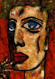 "Saatchi Art Artist CARMEN LUNA; Painting, ""88-RETRATOS Expresionistas. Peach. "" #art http://www.saatchiart.com/art-collection/Painting-Assemblage-Collage/Expressionist-Portrait/71968/51263/view"