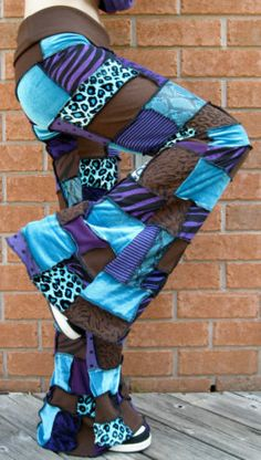 Patchwork Pants DIY Hippie Pixie Hooping Handmade Purple Turqoise Brown OOAK