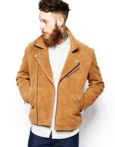 Image 1 of ASOS Suede Biker Jacket