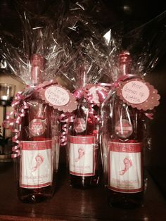 Wine as baby shower prizes