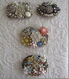 belt buckles covered with vintage jewelry