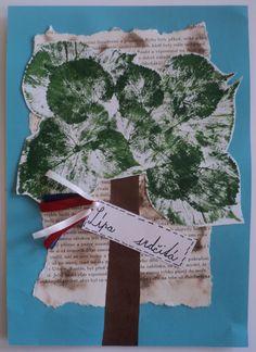 Lípa srdčitá - český národní strom (tisk listem + váleček) Aa School, School Clubs, Nature Activities, Activities For Kids, Crafts For Kids, Art Education, Christmas Stockings, Projects To Try, Let It Be