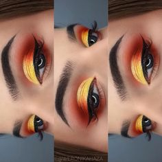 Fall Makeup is about the vibrant natural color. Here are the best Eye makeup for Fall ideas. These Fall Eyeshadow looks are perfect for casual or party wear Orange Eye Makeup, Yellow Makeup, Colorful Eye Makeup, Natural Eye Makeup, Eye Makeup Tips, Makeup Inspo, Makeup Inspiration, Beauty Makeup, Natural Beauty