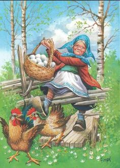Fingal / Lars Carlsson, Sweden Chicken Painting, Chicken Art, Paint Cards, Fence Art, Easter Art, Vintage Cards, Cute Pictures, Illustration Art, Gnomes