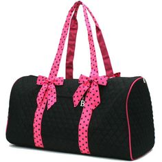Black and Hot Pink Large Duffle Bag