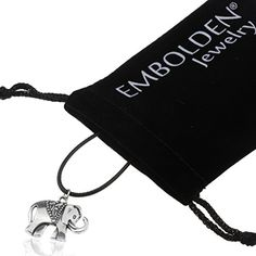 Silver Elephant Pendant in Black Leather Cord Necklace  Best Jewelry Accessories for Women Girls Teens -- For more information, visit image link.