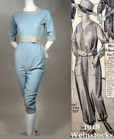 BLUE CHAMBRAY 1910'S VINTAGE GARDENING COVERALLS - NEW FASHIONED PANT JUMPER FOR THE MODERN SUFFRAGETTE! - NORMANDIN  BLUE CHAMBRAY 1910'S VINTAGE GARDENING COVERALLS - NEW FASHIONED PANT JUMPER FOR THE MODERN SUFFRAGETTE! - NORMANDIN.  Available for sale at RPVINTAGE.COM. Vintage Pants, Vintage Outfits, Vintage Fashion, Vintage Clothing, Vintage Style, New Fashion Pant, Womens Fashion, Vintage Gardening, Organic Gardening