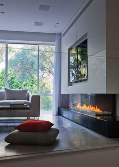 Gas closed #fireplace PANORAMA 130 by BRITISH FIRES