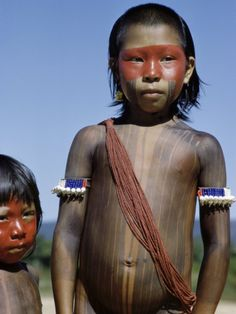 Xingu Girl | Caipo Indian Girl Painted with Achiote, Xingu River, Brazil