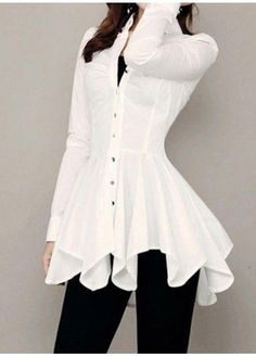 Button Up White Long Sleeve Asymmetric Blouse | Rosewe.com - USD $27.75