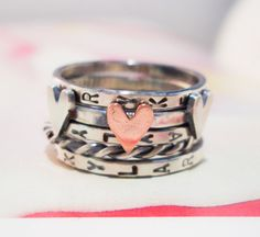 Love is Divine Stacking Ring // Personalized in Sterling Silver and Copper - These are even cuter in person.  LOVE them!