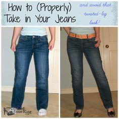 Tutorial: How to Resize Your Jeans to Make them Skinnier.  Full tutorial with picture to show you how to make skinnier (or skinny) jeans- without twisted legs.  A must read if you plan to take some jeans in.