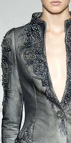 Dilek Hanif ~ Couture Beaded + Embroidered Grey Jacket