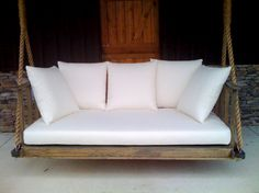 a porch daybed swing inspiration. My hubby made it for me in 2011 from pictures online. used ship's rope from a marine supply store. LOVE IT! WE USE IT OFTEN!