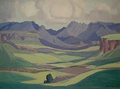 Malutis by Fouriesburg - JH Pierneef African Map, African History, South Africa Art, South African Artists, Mountain Art, Art File, Art For Art Sake, Silk Painting, Map Art