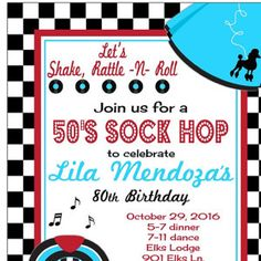 50s Sock Hop Invitation Printable 5 x 7 Customized Shake