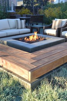 bench and fire pit. this would be a good continuation from our deck.