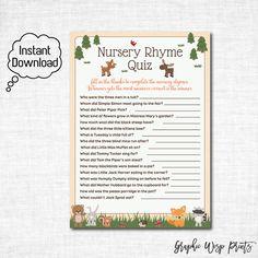 Woodland Nursery Rhyme Quiz Baby Shower Game, Woodland Nursery Rhyme Quiz Printable, Woodland Baby Shower Game Printables