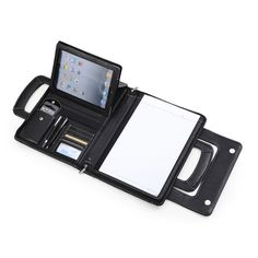 Compact Leather Briefcase in Black w/ Handle for iPad 3 and MacBook Air 13-inch