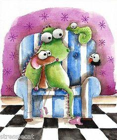 Original Watercolor Painting Art Illustration Mouse Dragon Lizard Bird Crow Sofa | eBay