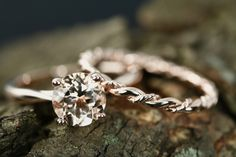 Annie 7mm & Connie Round Cut Morganite 14k Rose Gold Solitaire Engagement Ring With Plain Matching Band Promise Ring Set Anniversary Set by loveforeverjewelrysv on Etsy