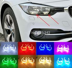 93.99$  Buy here - http://alibdd.worldwells.pw/go.php?t=32604979451 - For BMW 3 Series F30 2012 2013 2014 2015 with halogen headlight Excellent DTM Style Horseshoe Multi-Color RGB LED Angel Eye kit 93.99$