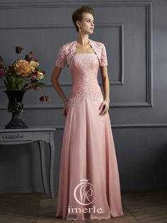 elegant long pink pleated dress