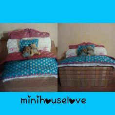 Mini łóżko  Miniatures bed clothes peg  minihouselovepl.blogspot.com.