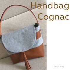 Handtasche Cognac Leder & graue Wolle #homemadebypatricia