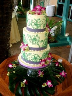 Hawaiian Luau cake with orchids