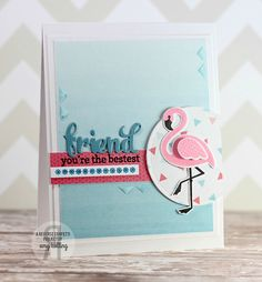 Card by Amy Kolling. Reverse Confetti stamp sets: Fabulous Flamingo and Fancy Word Coordinates. Confetti Cuts: Fabulous Flamingo, Fancy Words and Circles 'n Scallops. Friendship card. Encouragement card. Thank you card.