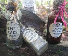 HALLOWEEN POTION bottles for display & by thekeepershouse on Etsy