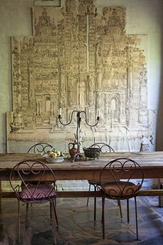 An old paper drawing / vintage dining room in Provence, France.