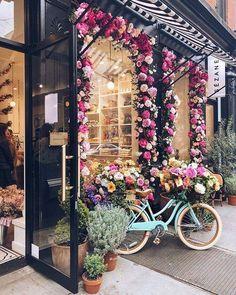 A pretty floral spring display outside SEZANE in Nolita.