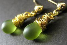 Green Earrings Wire Wrapped Earrings. Gold Stud by Gilliauna, $20.00