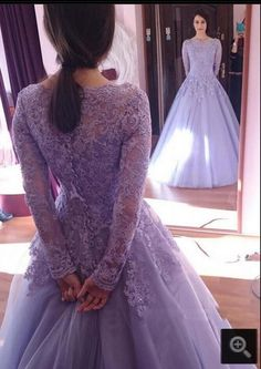 Lilac Ball Gown Modest Prom Dresses 2017 With Long Sleeves Beaded Lace Appliques Long Floor Length Puffy Prom Gowns Sleeved