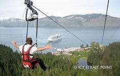 Icy Strait Zip Line in Hoonah, Alaska  AAAHHMAZING!!! Longest zip line (over a mile) and staff is terrific