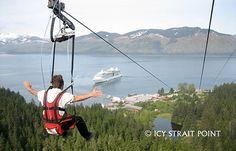 Icy Strait Zip Line in Hoonah, Alaska  AAAHHMAZING!!! Longest zip line (over a mile) and staff is terrific