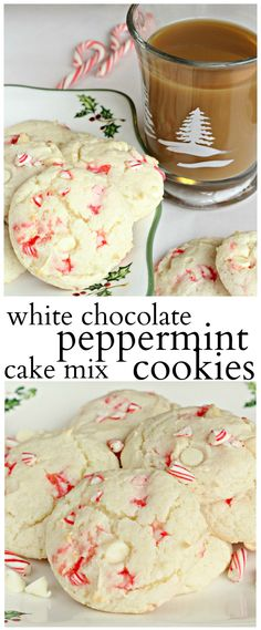 Festive white cake mix cookies with white chocolate chips and peppermint pieces. Festive white cake mix cookies with white chocolate chips and peppermint pieces. Köstliche Desserts, Holiday Desserts, Holiday Baking, Holiday Recipes, Delicious Desserts, Holiday Appetizers, Party Appetizers, Plated Desserts, Appetizer Recipes