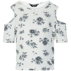 Teens White Floral Print Cold Shoulder T-Shirt ❤ liked on Polyvore featuring tops, t-shirts, short sleeve tee, cut out shoulder tops, white top, floral t shirt and floral tee