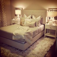 Neutral glam bedroom, beige, white, gold, shag rug, gourd lamps, square mirrors, tufted bed, moroccan trellis curtains. Cindy O'Brien Design cindyobriendesign@gmail.com